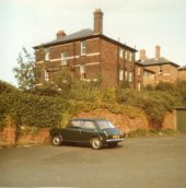 1973. The back of the female nurses' home. Andrea Banks - Mrs Bates - was the only student nurse to have a car at the time. (©B Nugent)