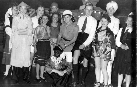 The Winwick Teenagers at the Fancy Dress Ball, left to right,  Averill Stamp, Brian Stapleton, ?, ?, James Paton, ?, Jeff Evans, ?, Ken Ross, Beryl Evans, Brian Gordon, ?. Submitted by Brian Stapleton