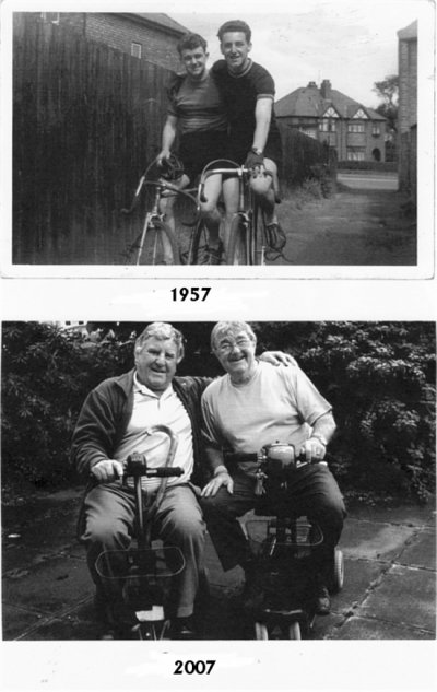 Half a century separates these two photographs of Winwick stalwarts Geoff Moon and Richard Peake. ©G Moon